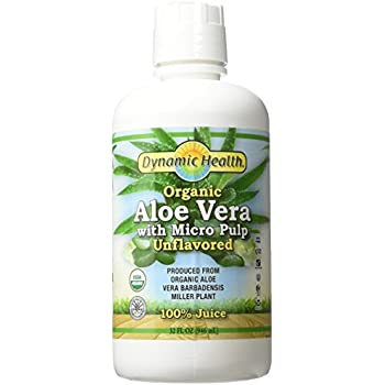Dynamic Health Labs Organic Aloe Vera Juice With Micro Pulp Unflavored 32 Fluid Ounce Bottle