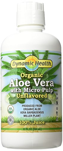 Aloe Vera Bottle - Dynamic Health Labs Organic Aloe Vera Juice with Micro Pulp, Unflavored, 32-Fluid Ounce Bottle