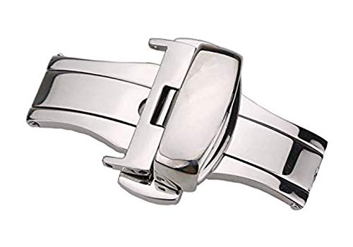 12mm Premium Silver Clasp Buckle Deployment with Double Push Buttons for Watch Strap Band Stainless Steel