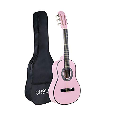 Kid Beginner Guitar Classical Guitar Acoustic Guitar 1/2 Half Size 30 inch Nylon Strings Guitar Starter Kits Pink Guitar