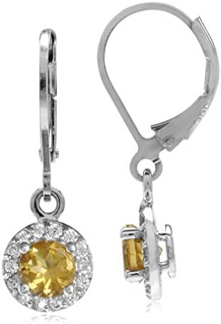 1ct. Natural Citrine & White CZ Gold Plated 925 Sterling Silver Halo Leverback Dangle Earrings