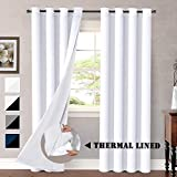 H.VERSAILTEX White Blackout Curtains (2 Layers) Rich Faux Silk Window Panels with White Liner Thermal Insulated Solid Grommet Curtain Drapes, Privacy Assured (Set of 2, 52 x 84 Inch, Pure White)