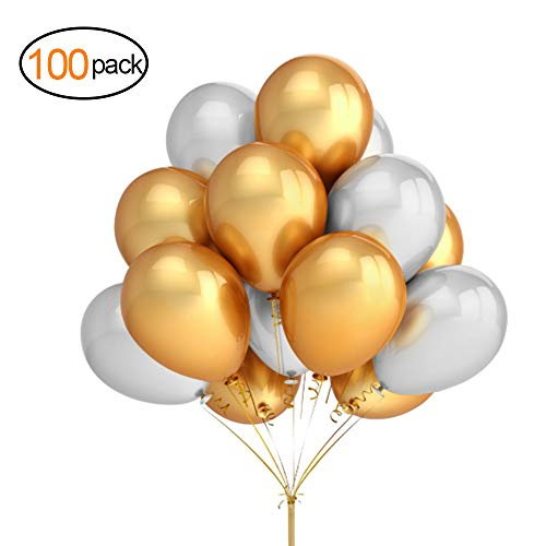 MTFX 12 inch Metallic Balloons,Helium Shiny Thick Chrome Latex Balloons, for Celebration Wedding Birthday Party Christmas Party Festival Decoration Baby Shower Gold and Silver 100 Pcs