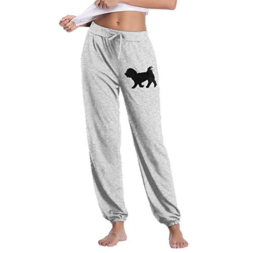 Womens Maltese Dog Silhouette Sweatpants with Pockets Drawstring Pants Gray