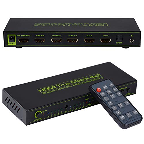 avedio Links 4x2 HDMI Matrix Switch V1.4,HDMI Switcher/Splitter 4 in 2 Out Optical & L/R Audio Output- Support 4K,3D 1080p,ARC,PIP - Includes 17keys IR Remote Control & Power Adapter by avedio links