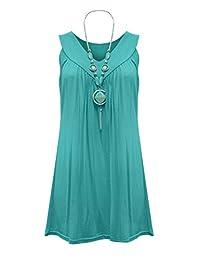 Womens Plus Size Necklace Ladies Tunic Sleeveless V Neck Tops Plus Size UK 10-20