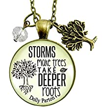 "24"" Storms Make Trees Keychain Inspired Life Quote Rustic Positive Attitude Pendant Jewelry Encourage Gift Card"