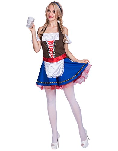 Beer Girl Halloween Costumes (FantastCostumes Women's Oktoberfest Beer Girl Halloween Costume(Blue, Medium))