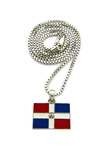 Hemau New Dominican Republic Flag Pendant 24 Box Chain Hip HOP Necklace - RC1886 | Model NCKLCS - 3320 | Silver