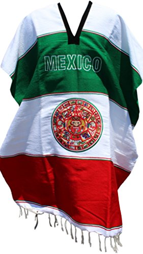 Trade MX Aztec Calendar Poncho Mexican Serape Adult Size (Tricolor) -