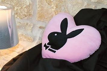 PLAYBOY Coussin Coeur Bunny Noir dp BBTPBTW