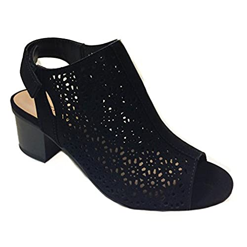 27bf4832f95 Peep Toe Ankle Strap Sandal – Western Bootie Low Stacked Heel Open Toe  Cutout Velcro –