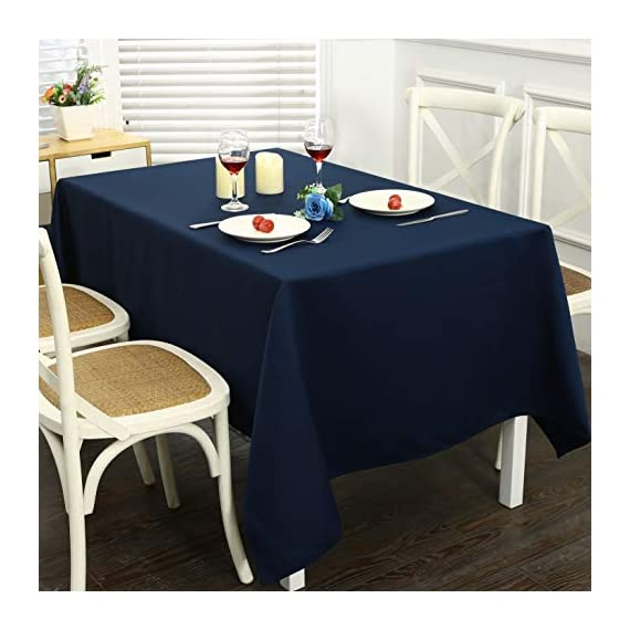 Obstal Rectangle Table Cloth, Oil-Proof Spill-Proof and Water Resistance Microfiber Tablecloth, Decorative Fabric Table Cover for Outdoor and Indoor Use (Navy Blue, 60 x 84 Inch) -  Premium Quality Tablecloth:This durable and easy to clean tablecloth is made from 100-percent premium polyester fabric. Available in 3 sizes: 60 x 84 inch, 60 x 102 inch, 60 x 120 inch, please measure your table size before buying.   Water Resistance Tablecloth: Our holiday table cloth is oil-proof, stain proof, scratch and water resistant. No leaks, making it the perfect table cover protector for your table.  Fulfill Your Finicky Fashion Sense: The impressively durable fabric promises to be a long lasting and stylish complement to your home. Whether you are looking for a stunning piece to tie your existing interior décor together or simply in need of an easy care focal point for an upcoming party or event, our solid color table clothes can create your personal style - tablecloths, kitchen-dining-room-table-linens, kitchen-dining-room - 41KChWXYF3L. SS570  -