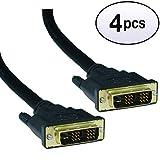 GOWOS (4 Pack) DVI-D Single Link Cable, DVI-D Male, 50 Feet