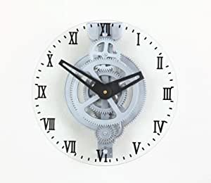Mástil de madera de arce es LCG88 mover Gear reloj de pared, cubierta de cristal