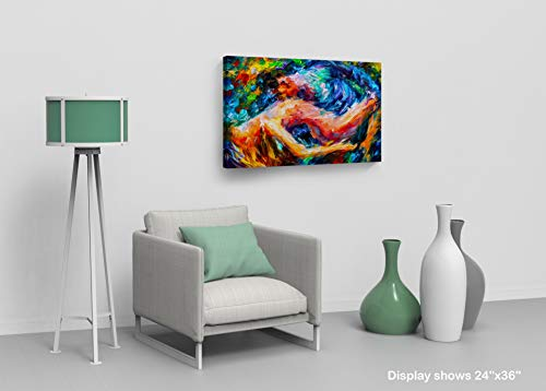 Colorful Lovers Couple Close up Making Love Sexy Fantasy Woman and Man Oil Painting Canvas Print Decorative Art Wall Home Decor Artwork Wrapped Stretched Ready to Hang- 100 Made in The USA- 24×36