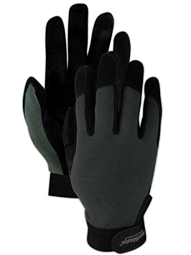 Fingertip Spandex Gloves - Magid Safety HandMaster MECH108XL Gloves | High Grip Goat Leather Palm Mechanics Gloves with Reinforced Spandex Fingertips - Velcro Closure, XL, Gray/Black (1 Pair)