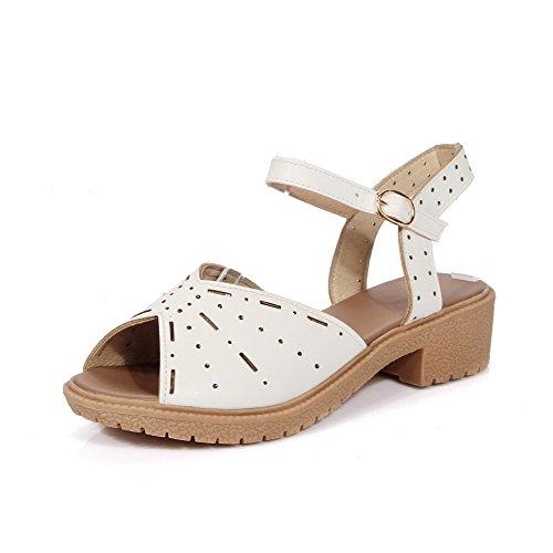 Amoonyfashion Mujer Open Toe Soft Material Hebilla Tacones Bajos Solid Sandals Blanco