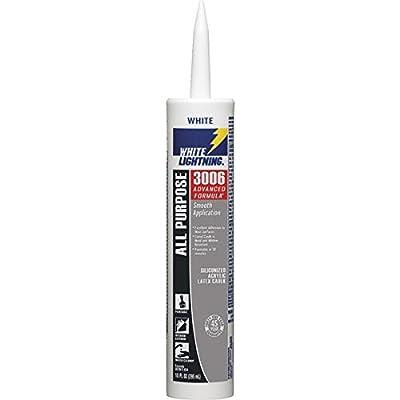 White Lightning 425-WL30060 3006 All Purpose Adhesive Caulk, 10 oz Cartridge, White (Pack of 12)