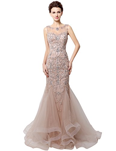 Clearbridal Women's Sheer Bodice Mermaid Blush Prom Dress Evening Gown CLX006BL US4 by Clearbridal