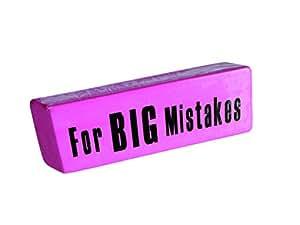 """Nodshop - Goma gigante con mensaje""""para grandes errores"""" en inglés (13,5 cm), color rosa"""