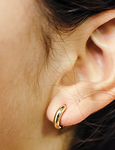 Small 14k Yellow Gold Huggie Hinged Hoop Earrings, 0.5 In (12mm) (3mm Tube) by LooptyHoops (Image #1)