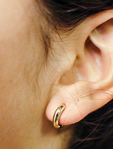 faaa4926e Small 14k Yellow Gold Huggie Hinged Hoop Earrings, 0.5 In (12mm) (3mm