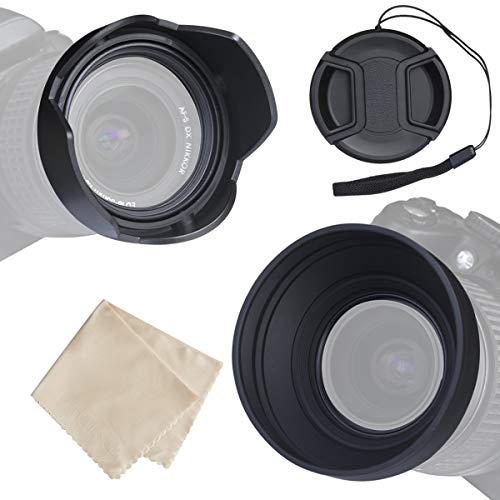 waka 77mm Lens Hood Set, Reversible Tulip Flower Lens Hood + 3 Stages Collapsible Rubber Lens Hood + Center Pinch Lens Cap with Cap Keeper Leash + Microfiber Cleaning Cloth