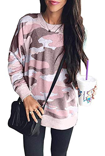 Women Camouflage Print Long Sleeve Crew Neck Loose Fit Casual Sweatshirt Pullover Tops Shirts Pink