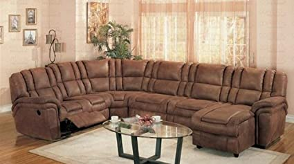 Amazon.com: Sectional Recliner Sofa with Chaise Rust Palomino ...