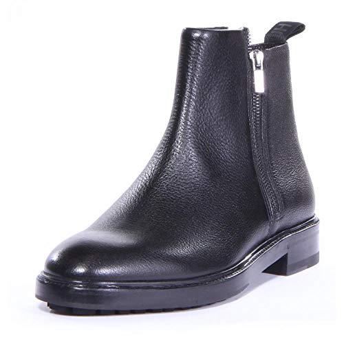 Hugo Boss Men Bohemian Double-Zip Leather Boots (12 M US) Black