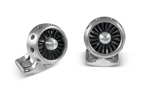 Deakin and Francis Fundamentals Silver Brushed Aluminum Mechanicals Jet Turbine Engine Cufflinks by Deakin and Francis