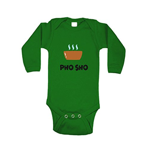 Cute Rascals Miso Soup Pho Sho On The Bowl #2 Kid/Baby Long Sleeve 100% Cotton Bodysuit One Piece - 6 Months, Kelly Green Stand Pho