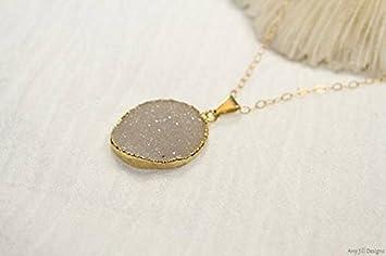 Druzy Collar, Druzy Jewelry, colgante Drusy, collar de piedras preciosas, gris, geoda, drusy Druzy-1