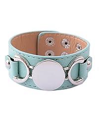 L&N Rainbery PU Leather Cuff Bracelet Blank Monogram Jewelry Cuff Women Leather Bracelet (Mint Silver)