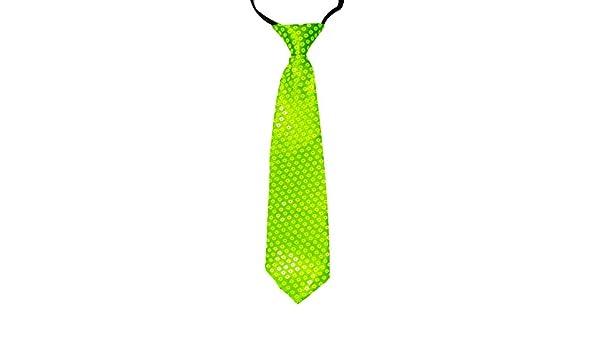 Corbata de cuello ajustable con lentejuelas, color verde lima neón ...
