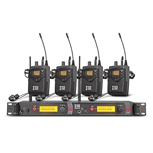 - Xtuga RW2080 in Ear Monitor System 2 Channel 2/4/6/8/10 Bodypack Monitoring with in Earphone Wireless SR2050 Type! (4 bodypack with Transmitter)
