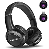 Bluetooth Headphones, ELEGIANT On Ear Bluetooth Headset Foldable with Mic FM Radio Micro SD Card Slot Wired and Bluetooth Headphones Compatible iPhone 8 7 6S 6/Android Phones/Laptop/PC Black