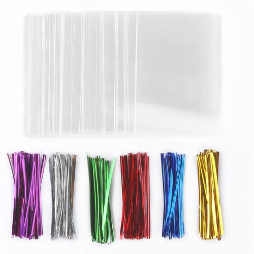 J1L 200 Treat Bags (4x6 In) with 200 Twist Ties (4 In, 6 Mix Colors), Crystal Clear Cellophane Treat Bags, Great Party Favor Bags for Candies, Cookies, Chocolates, All Your Special DIY Treats