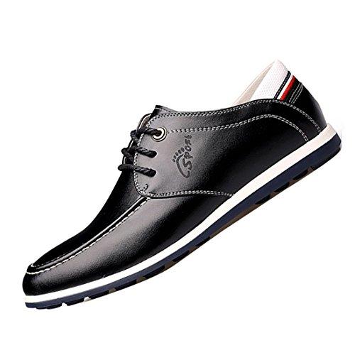 Men Casual Leather Boat Shoes Docksides Deck Spinnaker Top-Side Lace Up Moccasin Black