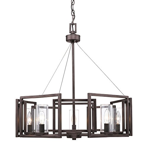 Golden Lighting 6068-5 GMT Five Light Chandelier, Bronze