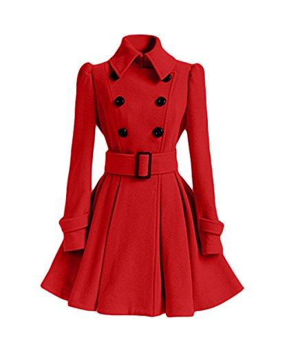 Outerwear Largo Tops Solapa Abrigos Elegante Parka Cinturón Invierno Mujeres Rojo Chaquetas Manga Larga de Moda Trench Otoño Coat Cazadora con Plisado xvfBxqzw