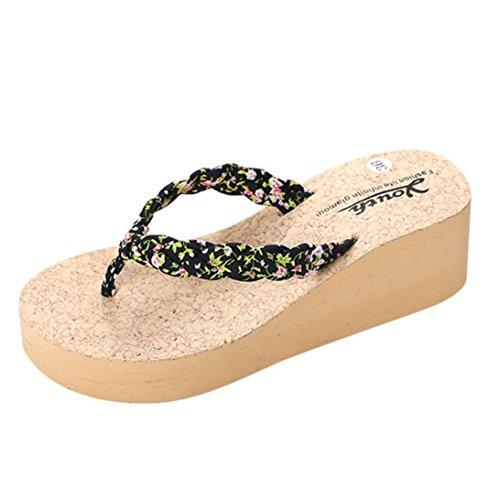 Winwintom La mujer Flip Flops Zapatillas Zapatos sandalias de playa casa de verano zapatos Negro