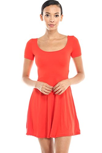 2LUV Women's Short Sleeve Scoop Neck Fit & Flare Skater Dress Red M - Scoop Neck Dress