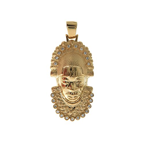 Genuine Real 14K Yellow Gold Solid African Mask Zulu Nation Charm Pendant Hip Hop Style (Small) by Traxnyc