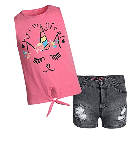 - dELiA*s Girls' 2-Piece Denim Short Set with Prints and Sequins Shirts, Hot Pink Meowgical, Size 4T'