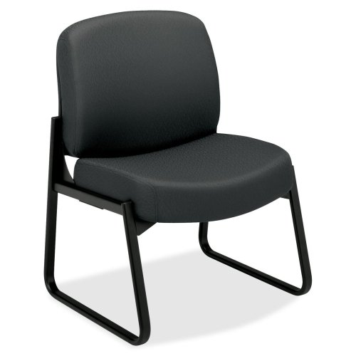 HON Pyramid 3500 Series Armless Guest Chair - Polyester Charcoal Gray Seat - 28.3