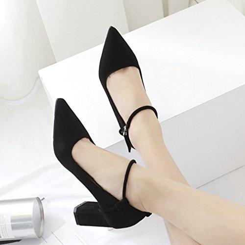 Vestir Mujer Welldone2017 Zapatos de de negro Piel Para 1zPgzxq