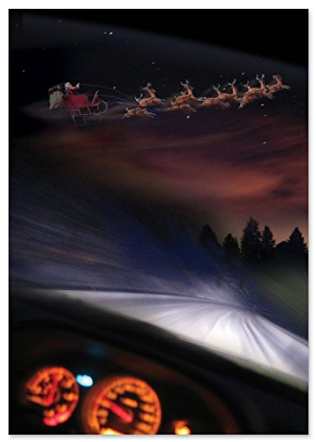 NobleWorks ''Santa Dashcam '' Funny Blank Merry Christmas Greeting Card, 5
