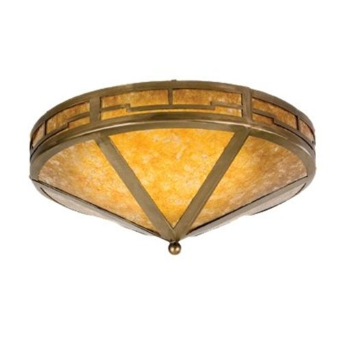 Meyda Tiffany Custom Lighting 26390 Valley View 2-Light Flush Mount, Antique Copper Finish with Amber Mica
